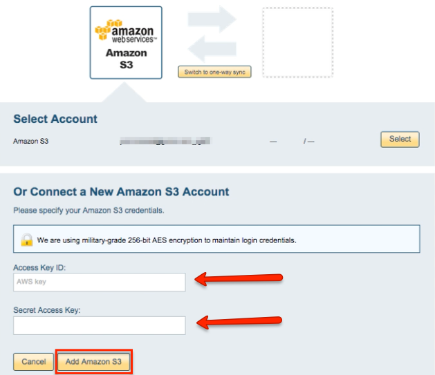 Add Amazon S3 account