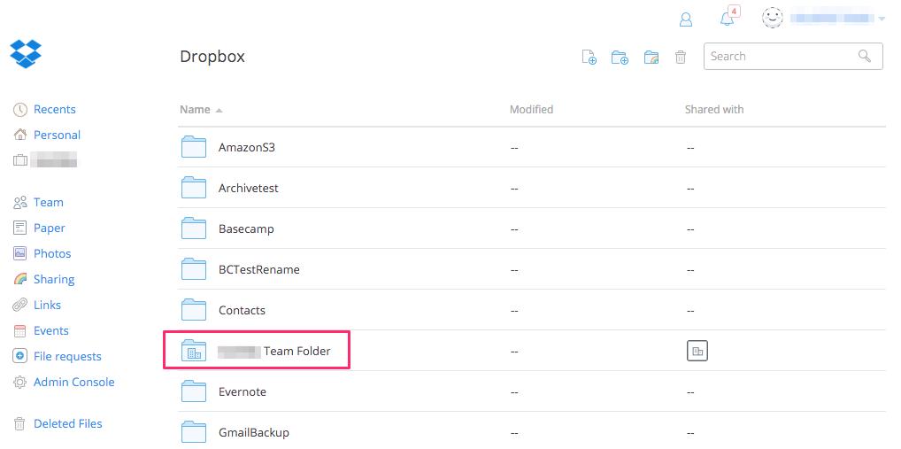 Dropbox Team Folder