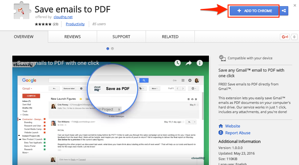 How to save and convert email with attachments to PDF – cloudHQ Support
