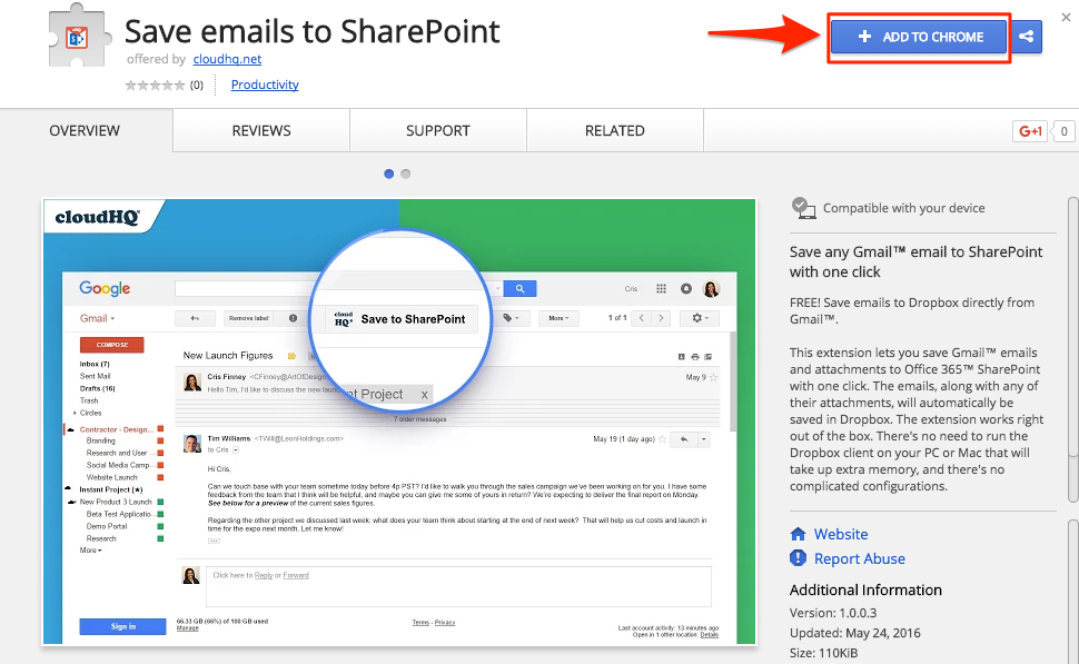 How to save a single email to SharePoint – cloudHQ Support
