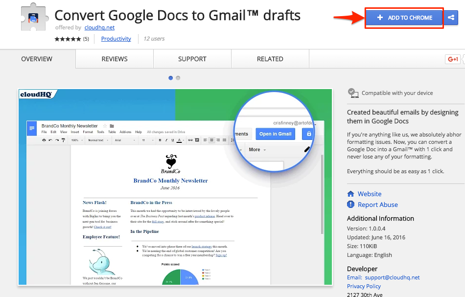 How to convert Google Docs to Gmail™ – cloudHQ Support