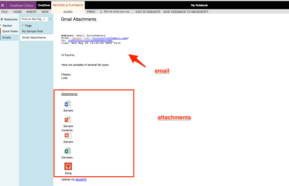 How to save a single email with attachments to OneNote