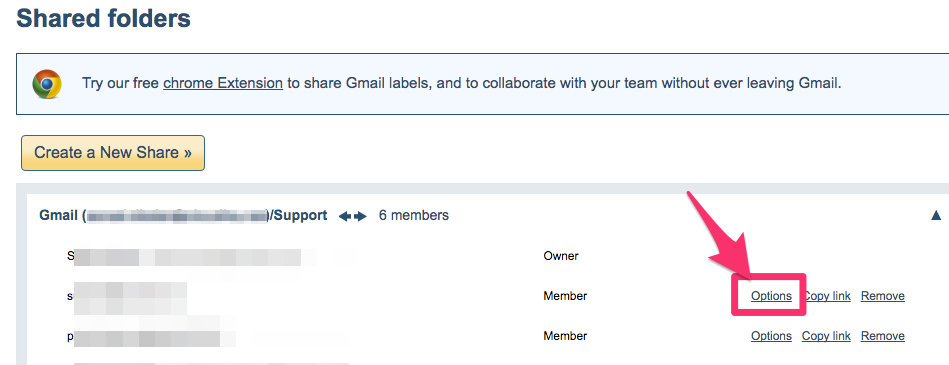 Gmail Label Share option