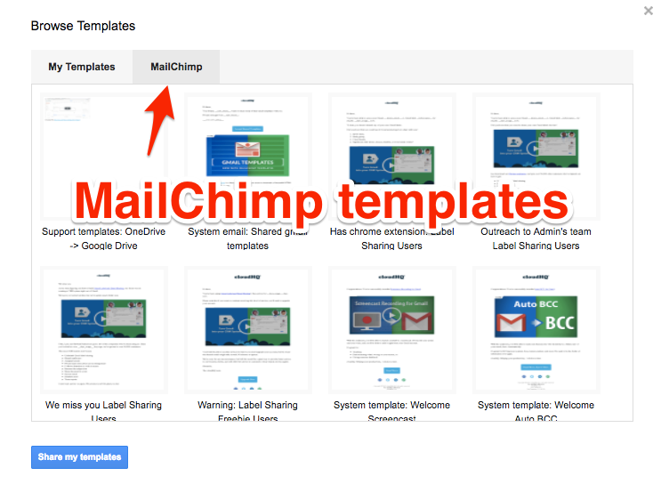 How to import mailchimp templates cloudhq support for Mailchim templates