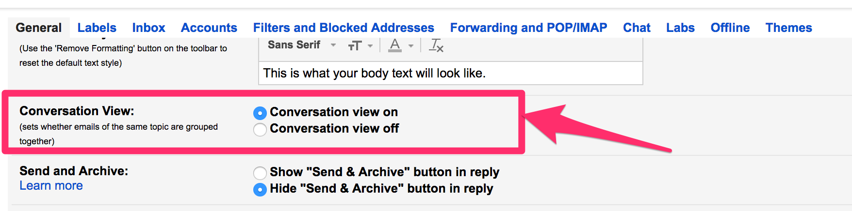 How to turn Gmail thread conversation view ON or OFF