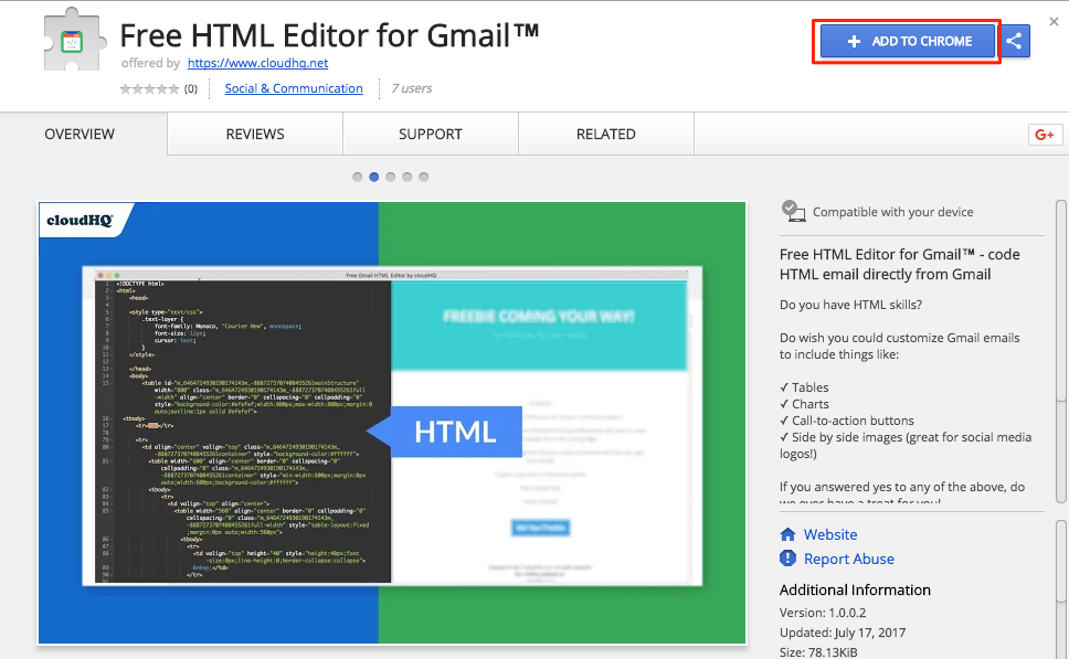 Getting started with Free HTML Editor for Gmail – cloudHQ