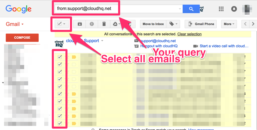 How to save of multiple emails matching query to Google