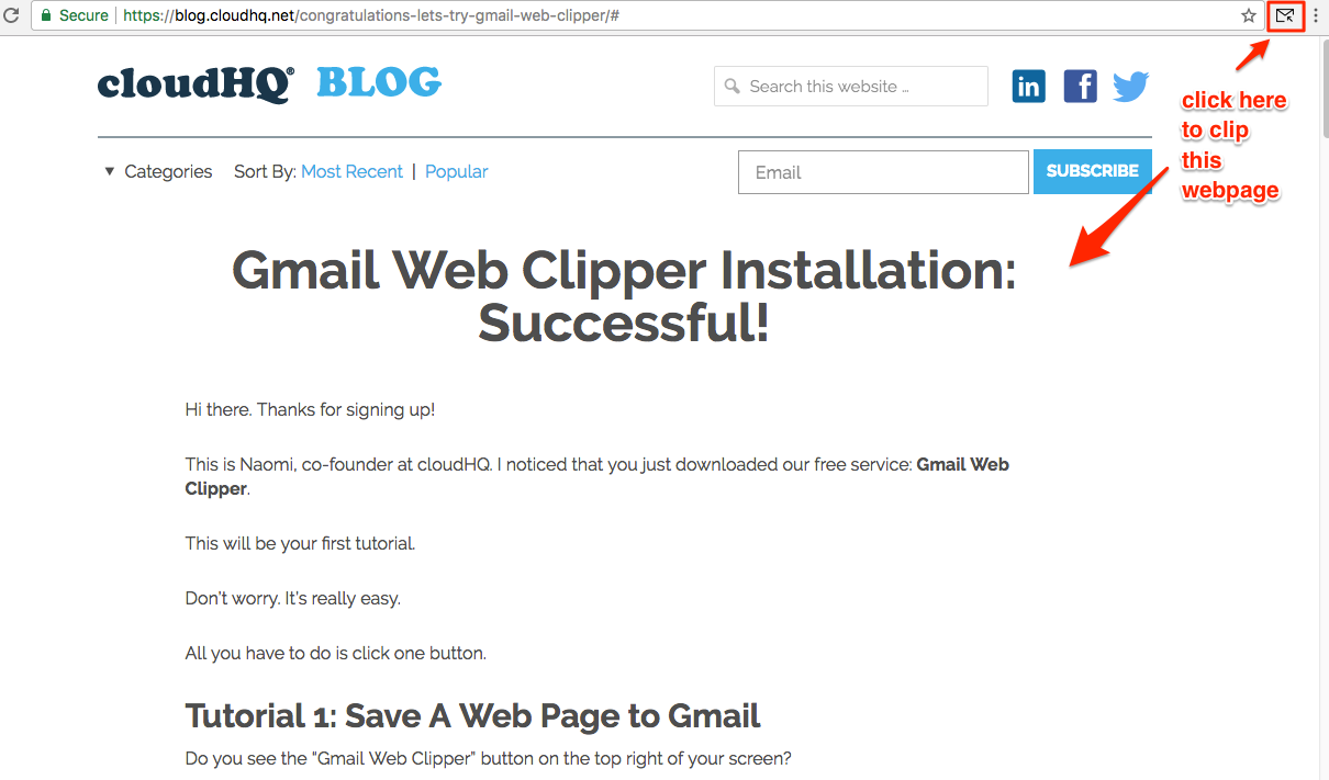 How to use Gmail™ Web Clipper – cloudHQ Support