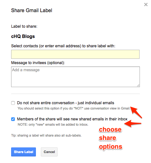Share Gmail Label