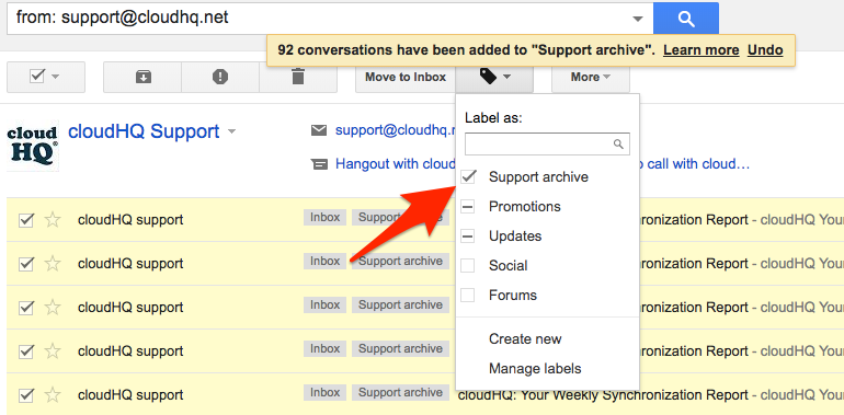 New Gmail label for support