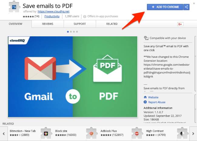 Save emails to PDF Chrome extension