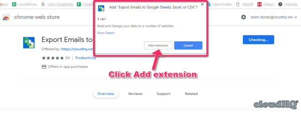 Add Extension - Export to Sheets