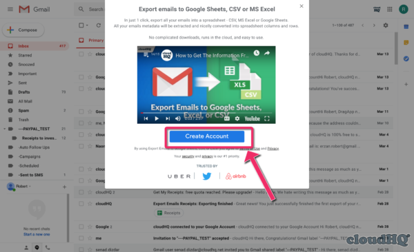 Create Account - Export to Sheets
